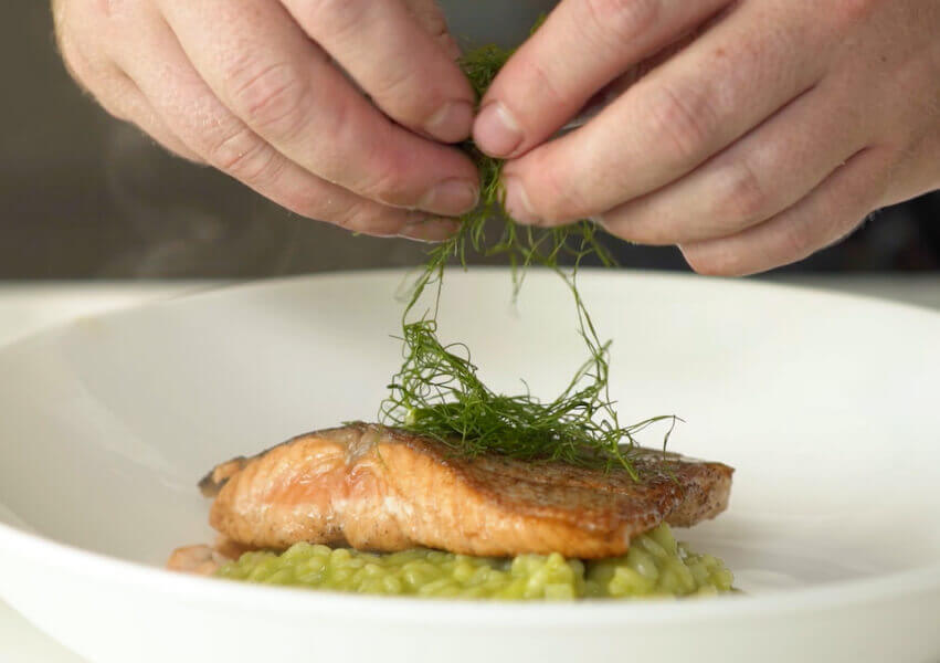 Salmon with Mint-Pea Risotto