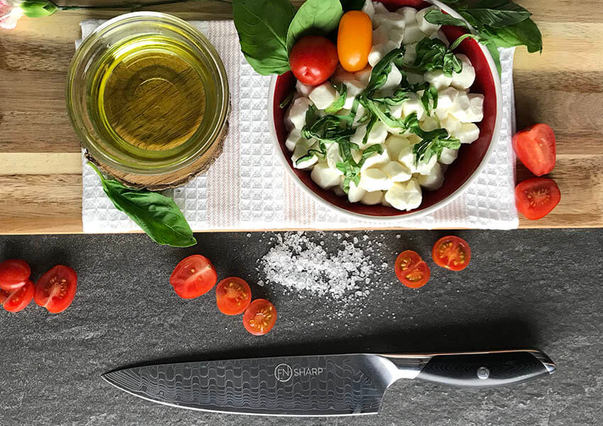 Chef's knife with Italian ingredients