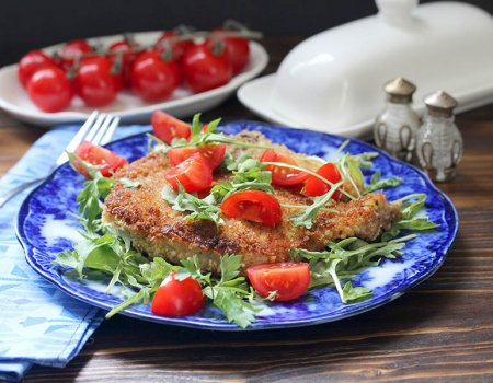 Recipe for Panko-breaded, bone-in pork Milanese