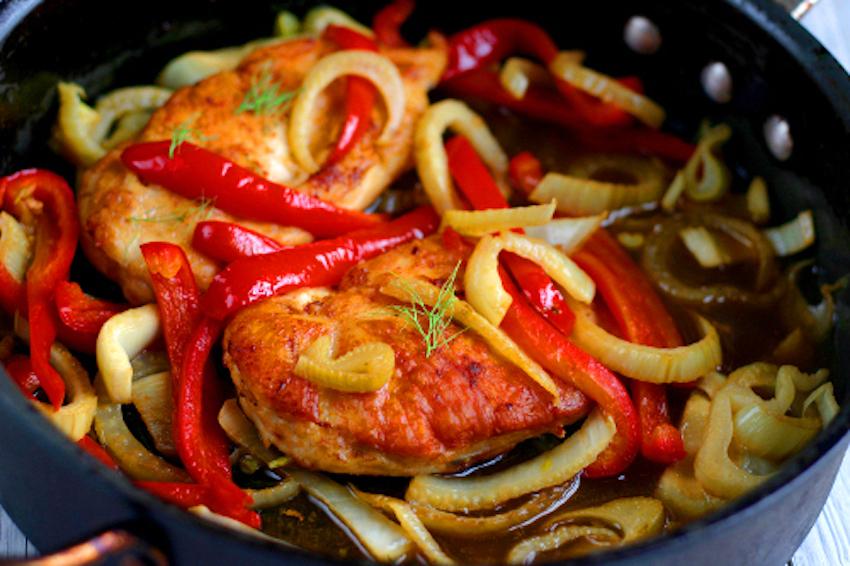 Fennel Chicken with White Wine Sauce