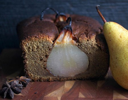 Poached Pear Gingerbread Holiday Dessert Recipe