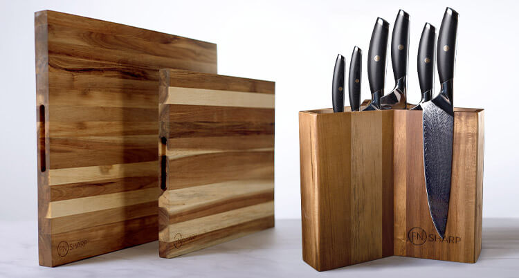 6 Knives on cutting boards